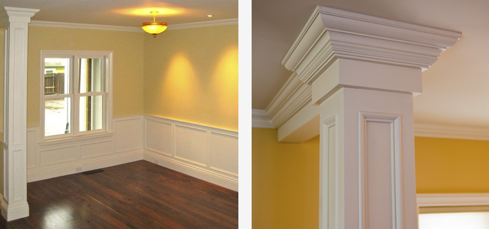 dining room with custom wainscot and crown molding