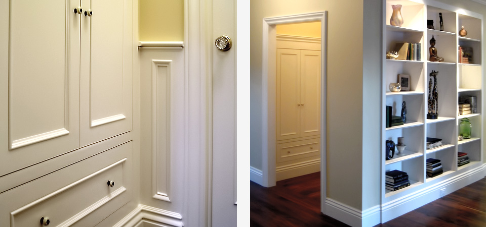 built-in coat closet and bookshelf